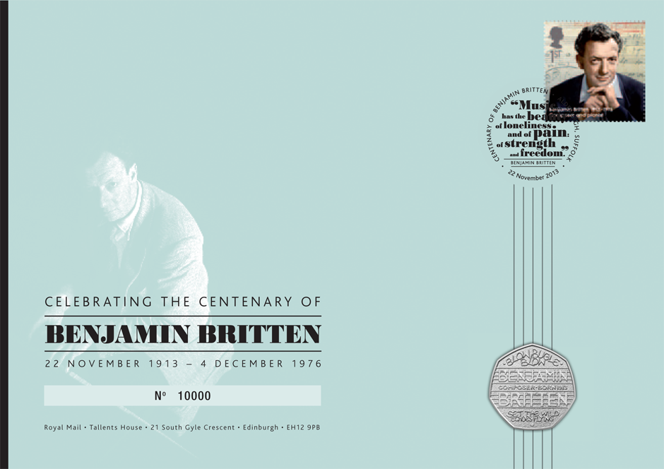Graphic design - Benjamin Britten commemorative coin pack | Royal Mail