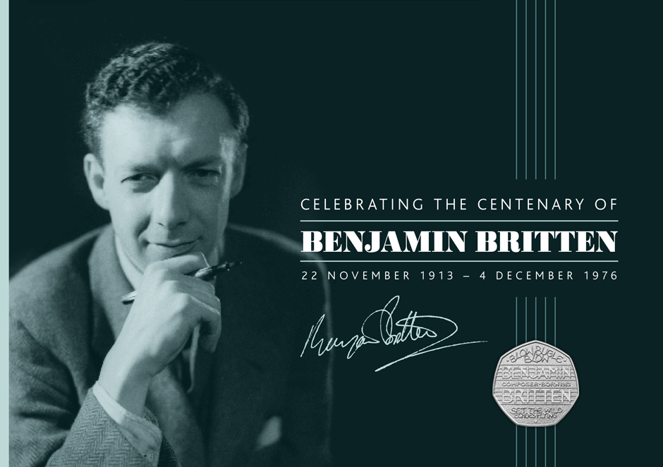 Graphic design - Benjamin Britten commemorative coin & stamp pack | Royal Mail