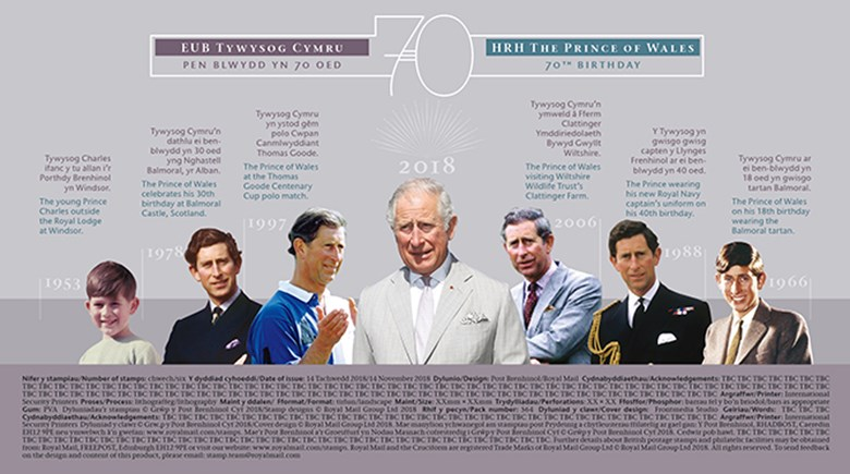 Royal Mail Prince Charles 70th First Day Cover filler card