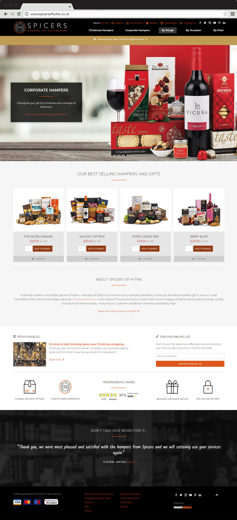 Spicers of Hythe responsive website homepage