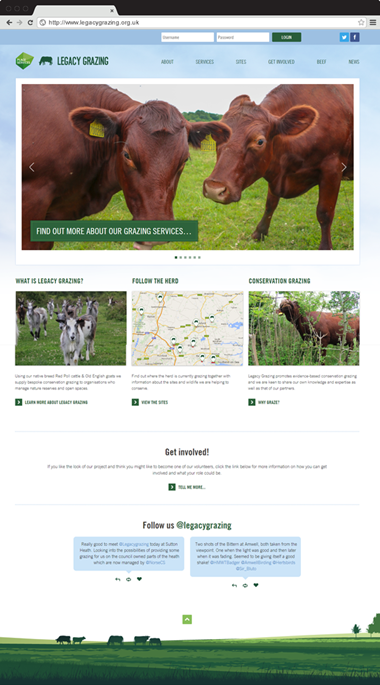 Responsive Website Design for Essex Grazing Project, Homepage