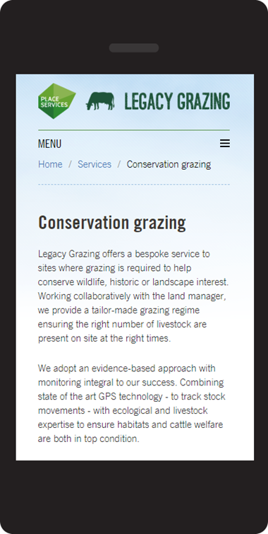 Responsive Website Design for Essex Grazing Project, mobile