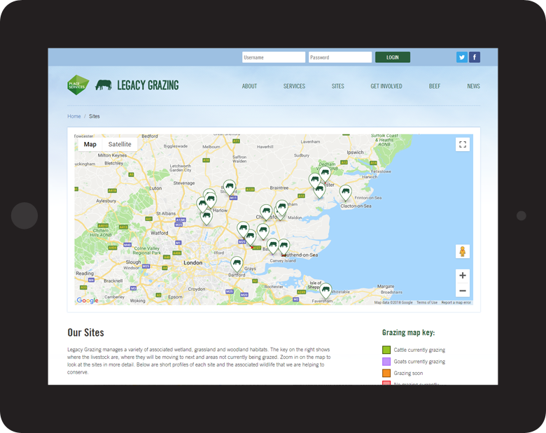 Responsive Website Design for Essex Grazing Project, grazing map on tablet