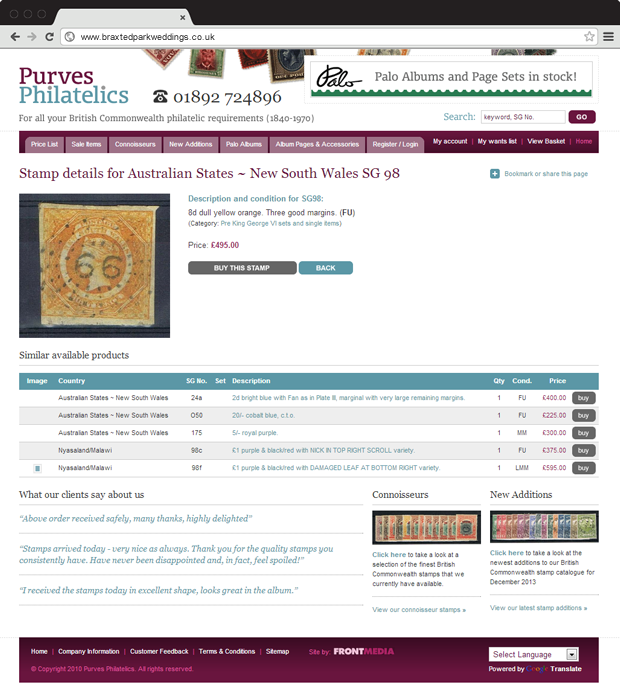 Purves Philatelics detail page