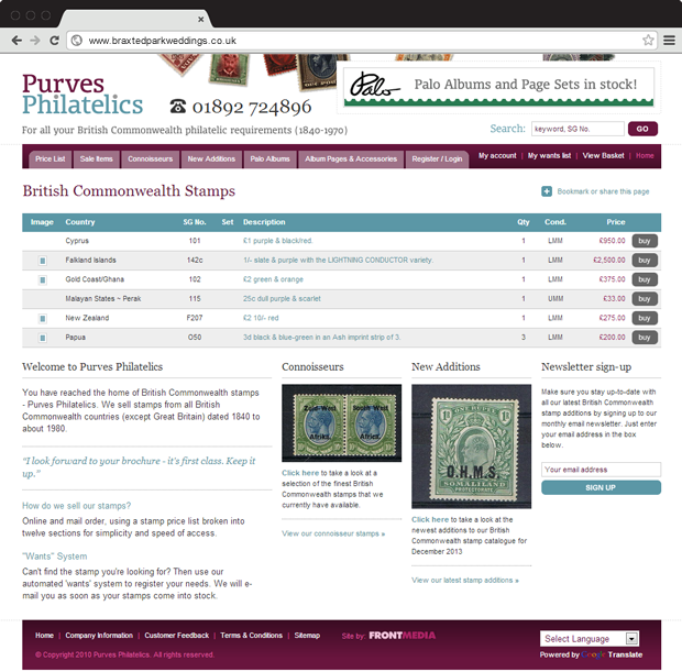 Purves Philatelics home page