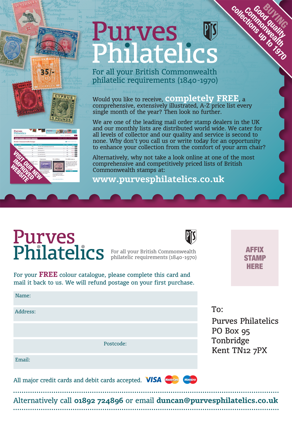 Purves Philatelics promotional postcard