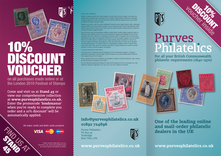 Purves Philatelics promotional flyer