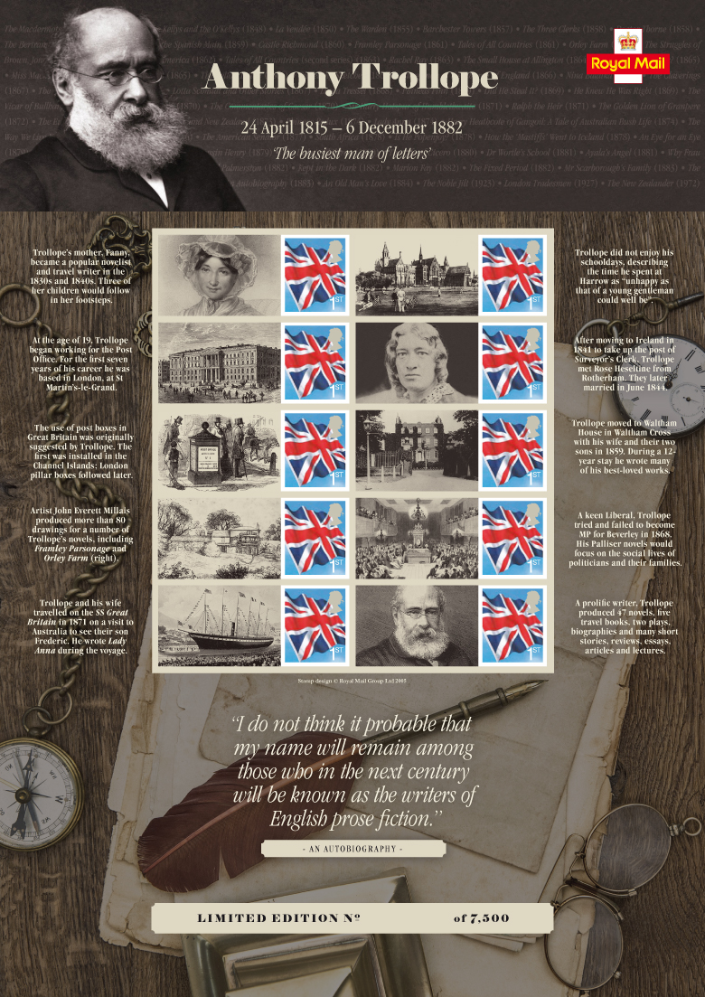 Royal Mail - Anthony Trollope commemorative stamp sheet