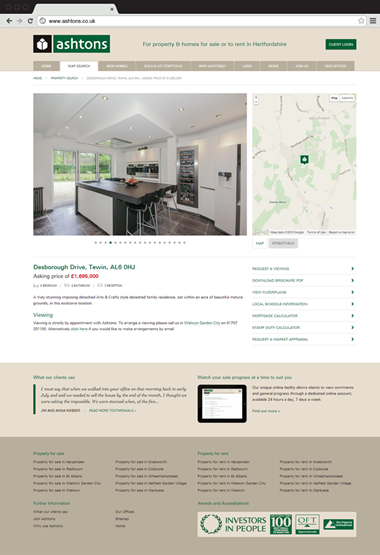 Responsive website design for Ashtons Estate Agents, property detail page