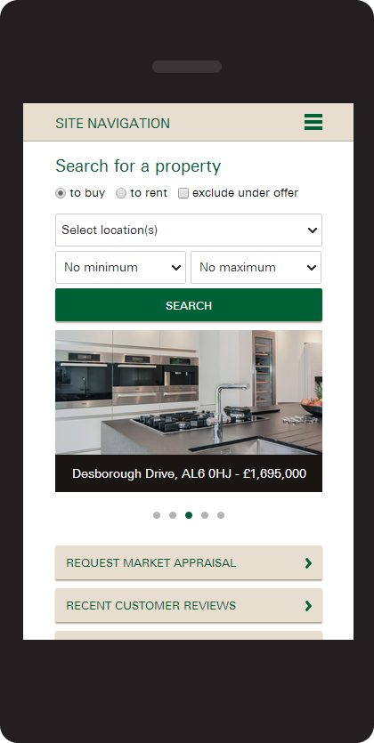 Responsive website design for Ashtons Estate Agents, search on mobile
