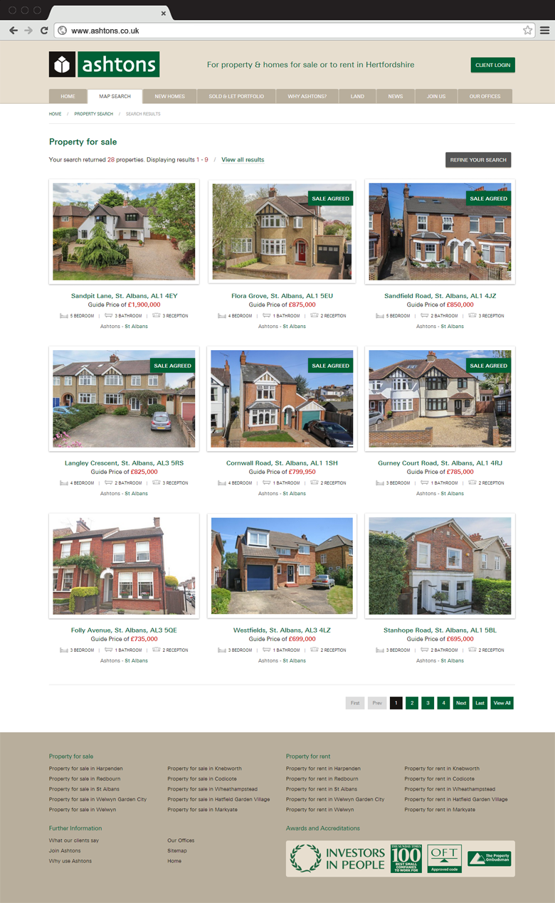 Responsive website design for Ashtons Estate Agents, property search results page