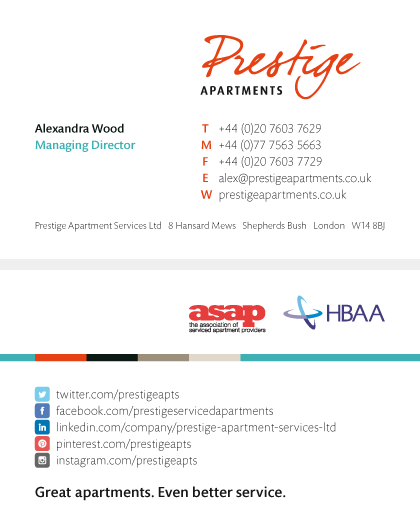 Prestige Apartments business card
