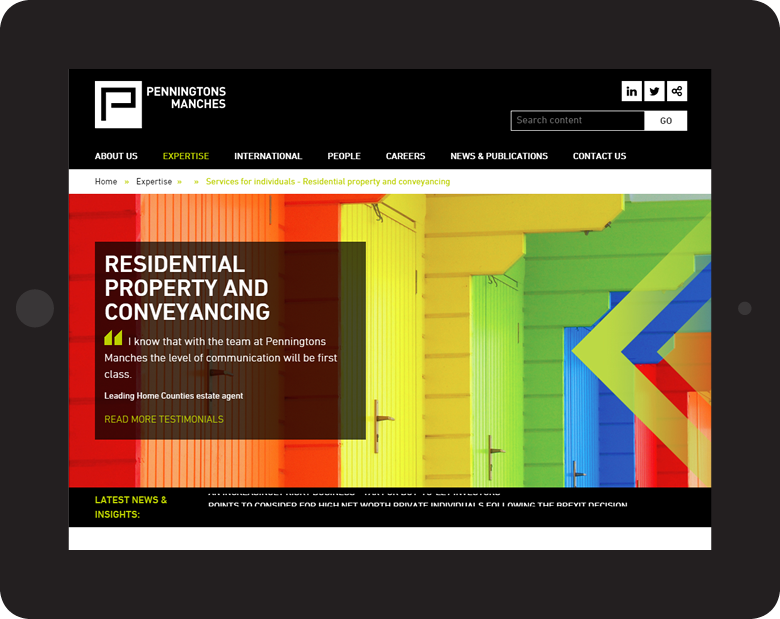 Penningtons Manches LLP responsive website design on tablet