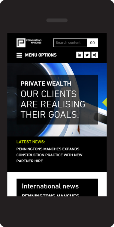 Penningtons Manches LLP responsive website design on mobile