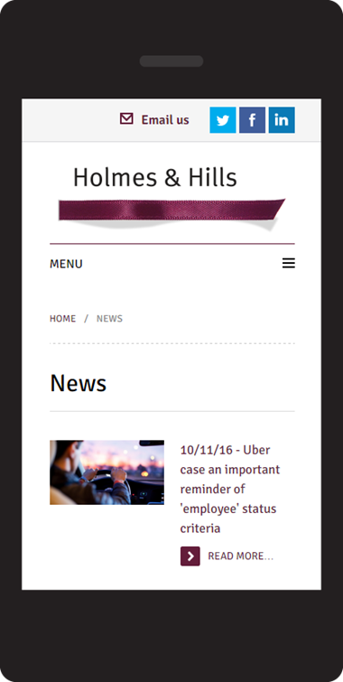 Responsive website design on Umbraco - Holmes & Hill solicitors - news page on mobile