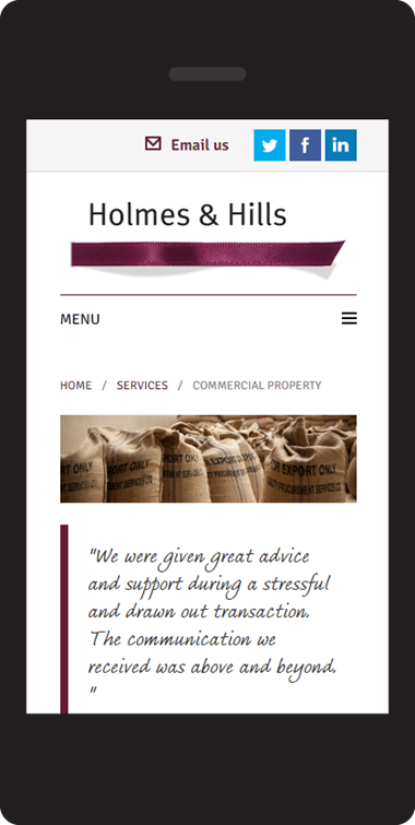Responsive website design on Umbraco - Holmes & Hill solicitors - service page on mobile