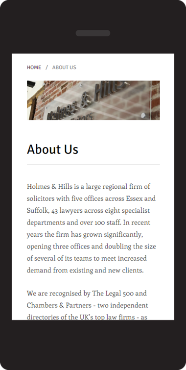 Responsive website design on Umbraco - Holmes & Hill solicitors - about page on mobile